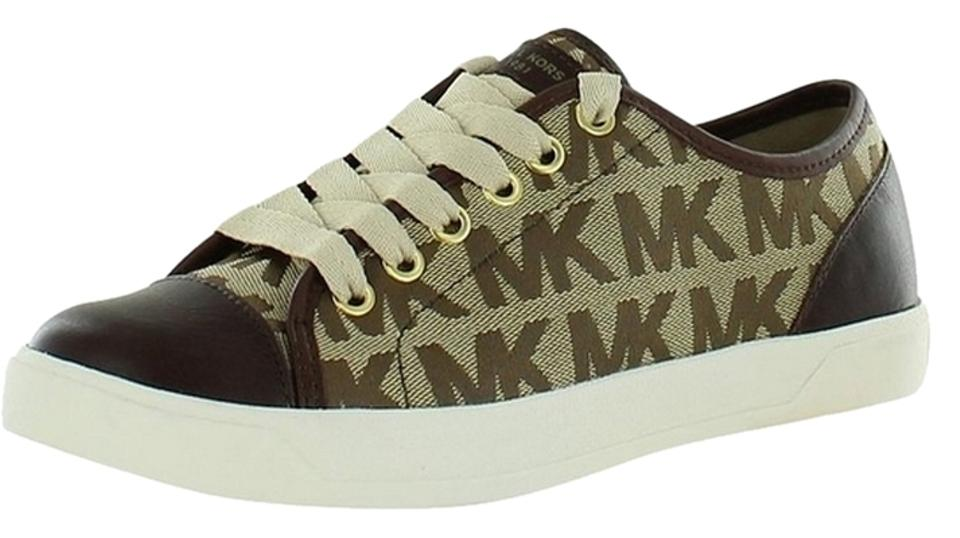 4fd3c012f5ce Michael Kors Mk Signature Brown Block City Sneakers Canvas Leather Logo  Lace-up Sneakers