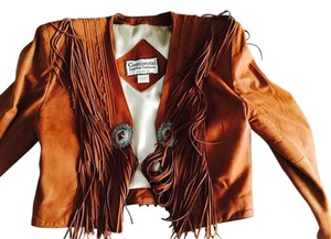 Other Fringe Silver Buckle Western Cropped Brown Leather Jacket