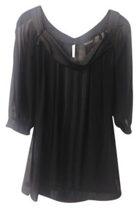 White House | Black Market Sheer Polyester Business Casual Casual Dressy Top Black