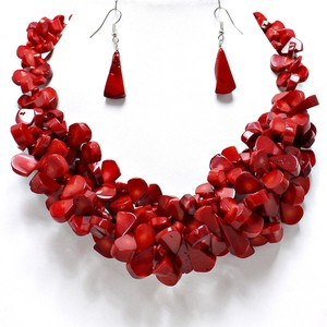 Natural Gemstone Coral Stones Red Necklace and Earring