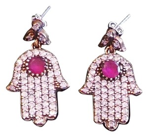 Hamsa Ruby and Topaz Hand Dangle 925 Sterling Silver Earrings