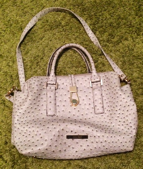 Ivanka Trump Stimulated Leather Embossed Ostrich Faux Ostrich Gold Tone Hardware Detachable Strap Satchel