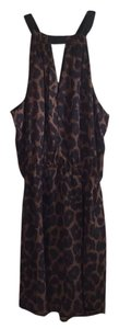 Eight Sixty short dress Black, Brown Halter Animal Print Keyhole on Tradesy