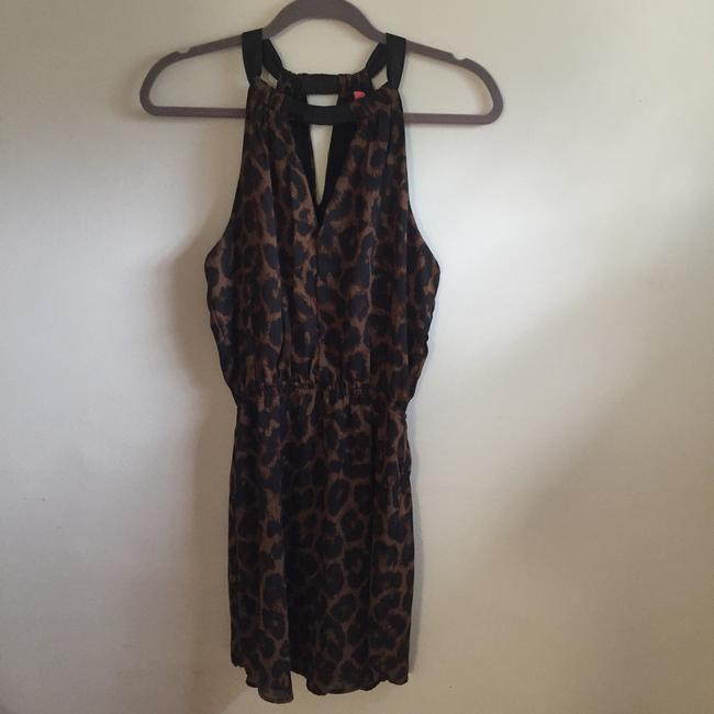 Eight Sixty short dress Black, Brown Halter Animal Print Keyhole Romper Leopard on Tradesy
