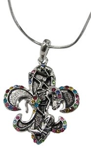 Women Silver Fashion Necklace Rodeo Horse Western Boots Multicolor Stones