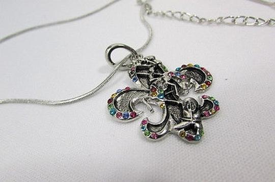 Alwaystyle4you Women Silver Necklace Rodeo Horse Western Boots Multicolor Stones Image 5