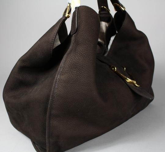 Gucci Stirrup Leather Hobo Tote in Brown Image 2