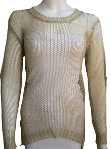 TRENDOLOGY Women Metallic Knit Sweater Fashion Tunik Long Sleeves Small S New Shirt Classic Fashion Unique Shere Long Sleeves Top Gold