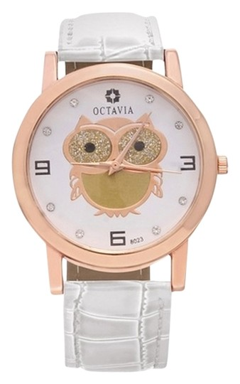 Preload https://item5.tradesy.com/images/white-and-rose-gold-ladies-hoot-with-leather-band-watch-6719524-0-0.jpg?width=440&height=440