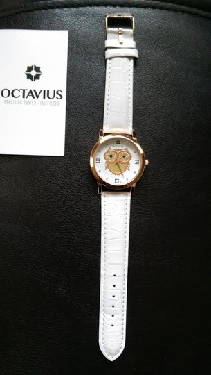 Octavia Octavia Ladies Rose Gold Hoot Watch With White Leather Band