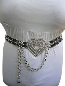 Women High Waist Silver Metal Chains Hip Belt Big Heart Charm Buckle Rhinestonnes Small Medium Large