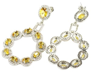 Other Golden Citrine and White Topaz Large Dangle 925 Sterling Silver 14k Earrings