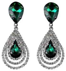 Other new emerald green ball crystal cluster dangle hoop bridal bridesmaid prom wedding classic earring drop water tear silver