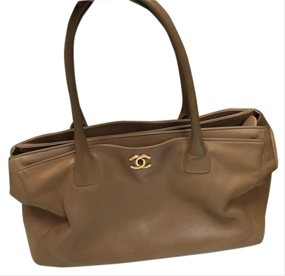 64df707bbed0 Chanel Executive Beige Calfskin Cerf Leather Tote - Tradesy