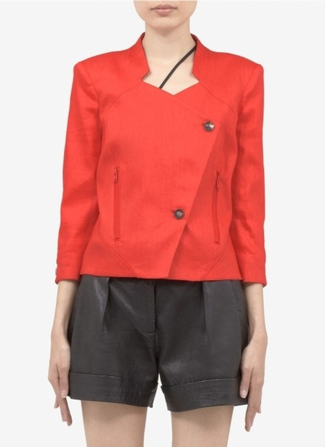 Item - Red Linen Cropped Jacket Blazer Size 2 (XS)