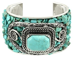 Boho Chic Silver Plated Semiprecious Turquoise Natural Gemstone Vintage Tribal Cuff Bracelet