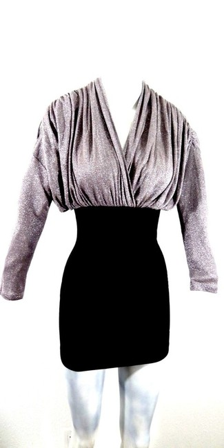 Preload https://item2.tradesy.com/images/cefian-silver-metallic-and-black-thick-stretch-new-mini-night-out-dress-size-4-s-6720241-0-0.jpg?width=400&height=650
