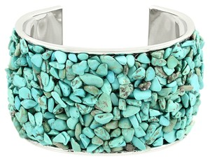 Other Boho Chic Silver Plated Semiprecious Turquoise Natural Gemstone Vintage Tribal Cuff Bracelet