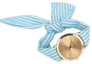 Other BOGO Design Blue White Striped Cloth Band Quartz Watch Free Shipping