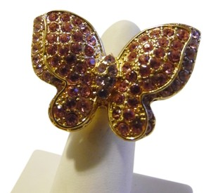 Pink Crystal Double Butterfly Stretch Ring fits Approx, Size 8 to 10