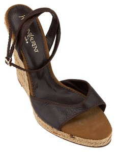 Saint Laurent Yves Ysl Leather Sandals Brown Wedges