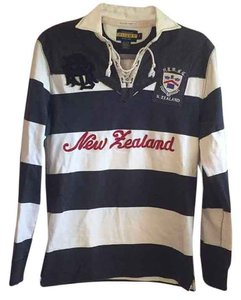 Rugby Ralph Lauren Vintage Distressed Bold Stripe Tassels Embroidered Sweater