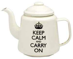 Wild & Wolf Wild & Wolf Keep Calm and Carry On Enamel Teapot