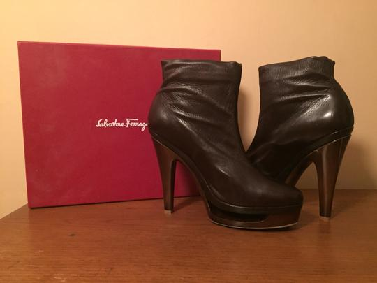 Salvatore Ferragamo Platform Cut-out Calf Skin Brown Boots