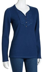 Fresh Waffle Thermal Henley Casual Comfort Lounge T Shirt Navy