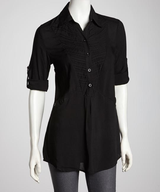 Simply Irresistable Collared Basic Roll Tab Sleeves Button Down Shirt Black