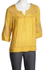 Simply Irresistable Embroidered 3/4 Sleeve Peasant Bohemian Top Yellow