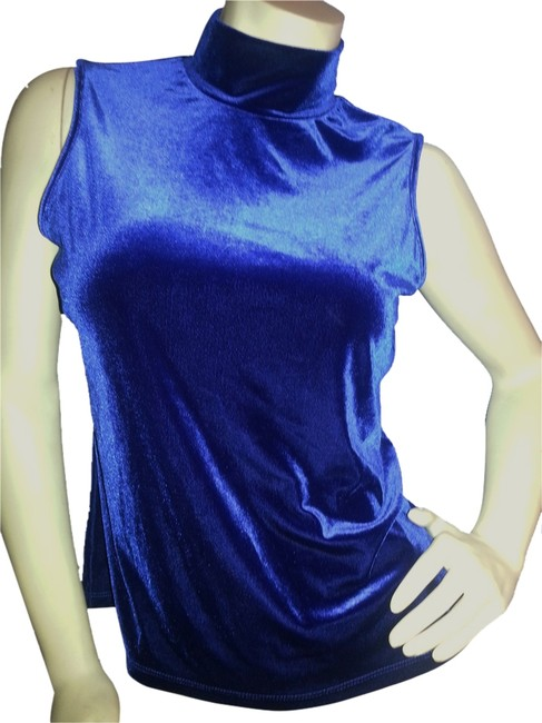 Preload https://item5.tradesy.com/images/blue-sleeveless-velvet-high-neck-pullover-night-out-top-size-12-l-6721729-0-1.jpg?width=400&height=650