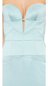J. Mendel Aqua Strapless Bustier Gown Dress
