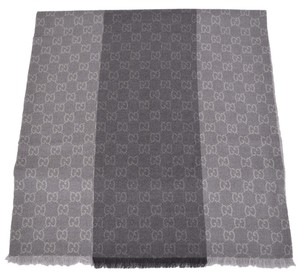 Gucci New Gucci Men's 387570 100% Wool Grey Paneled GG Guccissima Scarf Muffler