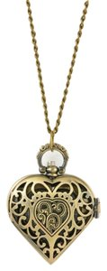 Bronze Heart Shaped Pocket Watch Inspired Sweater Necklace Free Shipping