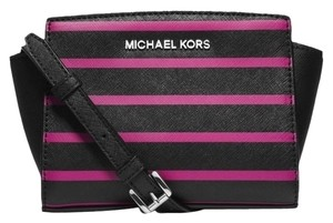 Michael Kors Next Day Shipping Black / Deep Pink Messenger Bag