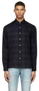 Rag & Bone Plaid Mens Button Down Shirt Navy Check