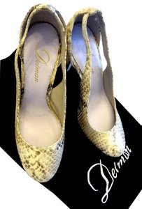 Delman Python Cutout Snake Snakeskin Off White Ecru Cream Pumps