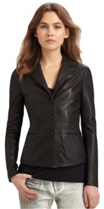 Vince Slim Cut Classic Blazer Blac Leather Jacket