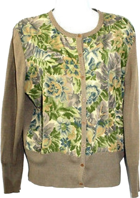 Preload https://item5.tradesy.com/images/dkny-buttoned-down-printed-silk-blend-panel-knit-sweater-l-cardigan-size-12-l-6723499-0-0.jpg?width=400&height=650