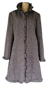 Larry Levine Wool Blend Herringbone Ruffles Hook Closure Coat