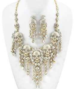 Rhinestone Crystal Elements Skull and Bones Necklace and Earrings