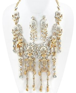 Rhinestone Crystal Skulls N Skeletons Necklace and Earrings