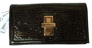 Calvin Klein Black Patent Leather Billfold with Silver Turnlock