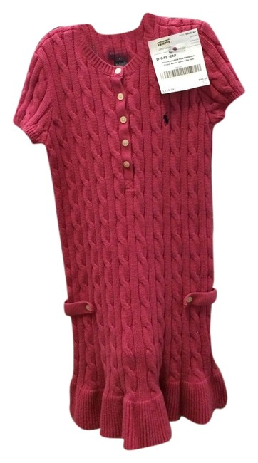 Preload https://img-static.tradesy.com/item/6725473/ralph-lauren-pink-cable-knit-girls-sweater-mid-length-short-casual-dress-size-12-l-0-1-650-650.jpg