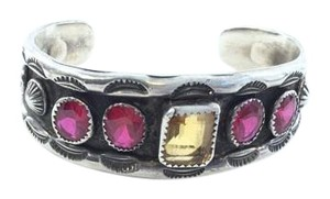 Santa Fe Art Gallery in the square Handmade crystal and silver tone cuff from a Santa Fe Nm Art Gallery