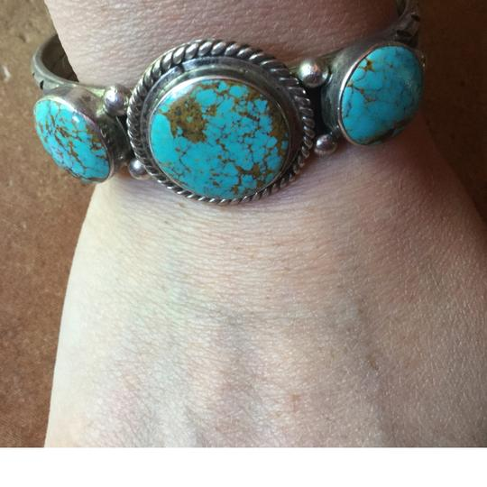 Santa Fe Art Gallery in the square Sterling silver turquoise cuff bracelet