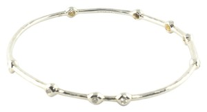 Ippolita Ippolita Silver Diamond Bangle Bracelet .925 9 Station Sterling Size 2 New!