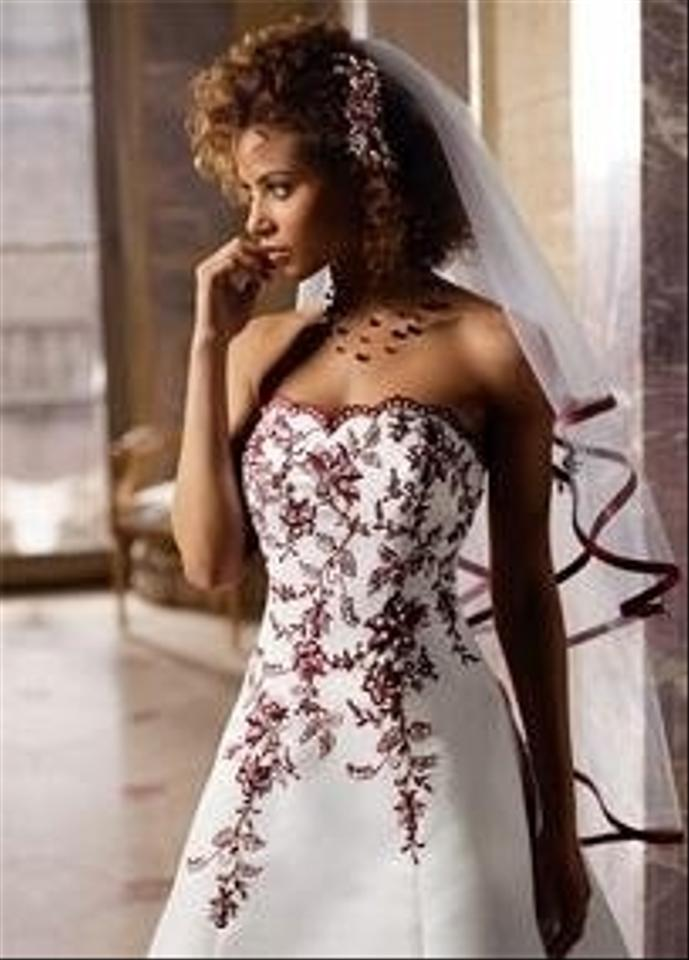 T8763r black white a line gown w beaded lace an wedding for Red and white wedding dress
