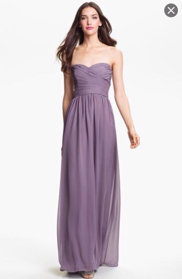 Monique Lhuillier Violet Chiffon Strapless Ruched Sweetheart Gown ...